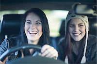 Two young women driving Stock Photo - Premium Royalty-Freenull, Code: 649-07064232