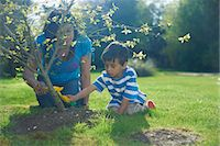 east indian mother and children - Mother and son planting tree in garden Stock Photo - Premium Royalty-Freenull, Code: 649-07064782