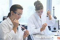 Biology students working with pipettes in lab Stock Photo - Premium Royalty-Freenull, Code: 649-07064906