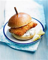Breaded fried fish and tartare sauce burger Stock Photo - Premium Rights-Managednull, Code: 825-07076940