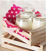 Glass pots of plain yoghurt Stock Photo - Premium Rights-Managednull, Code: 825-07077976