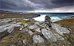 Dramatic rocky coastline above Gearrannan Blackhouse Village, near Carloway, Isle of Lewis, Outer Hebrides, Scotland, United Kingdom, Europe Stock Photo - Premium Rights-Managed, Artist: Robert Harding Images, Code: 841-07081853