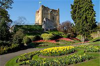 Spring flowers in ornamental beds decorate Guildford Castle, Guildford, Surrey, England, United Kingdom, Europe Stock Photo - Premium Rights-Managednull, Code: 841-07081898