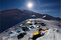 Moonlit tents on Mont Blanc, Haute-Savoie, French Alps, France, Europe Stock Photo - Premium Rights-Managednull, Code: 841-07082135