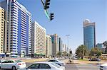 City skyline and Rashid Bin Saeed Al Maktoum Street, Abu Dhabi, United Arab Emirates, Middle East