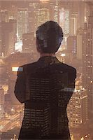 Double exposure of young businessman and the cityscape of Shanghai, China Stock Photo - Premium Royalty-Freenull, Code: 6116-07084761