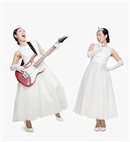 female white background full body - princess in two opposite emotions Stock Photo - Premium Royalty-Freenull, Code: 6116-07085004