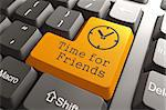 Orange Time For Friends Button on Computer Keyboard. Cocial Concept.