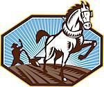 Illustration of farmer and horse plowing field done in retro style