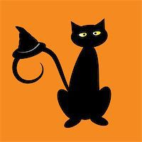 Black halloween cat with witch hat Stock Photo - Royalty-Freenull, Code: 400-07096939