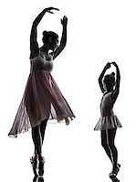 woman and  little girl   ballerina ballet dancer dancing in silhouette on white background Stock Photo - Royalty-Freenull, Code: 400-07101449