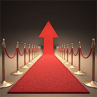 Red carpet arrow-shaped up. Your text next to the arrow. Stock Photo - Royalty-Freenull, Code: 400-07104647