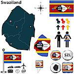 Vector of Swaziland set with detailed country shape with region borders, flags and icons Stock Photo - Royalty-Free, Artist: sateda, Code: 400-07105861