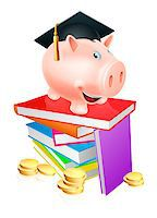 education loan - An education provision financial concept of a piggy bank in a mortar board academic cap standing on a stack of books with gold coins. Stock Photo - Royalty-Freenull, Code: 400-07107302