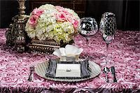 Image of a place setting at a wedding on pink Stock Photo - Royalty-Freenull, Code: 400-07111192