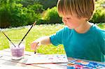 Young boy finger painting in garden Stock Photo - Premium Royalty-Freenull, Code: 649-07119206