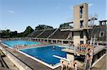 People at Swimming Pool, Olympic Stadium, Berlin, Germany Stock Photo - Premium Rights-Managed, Artist: Jean-Christophe Riou, Code: 700-07122903