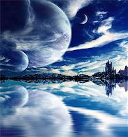 Collage - landscape in fantasy planet Stock Photo - Royalty-Freenull, Code: 400-07125694