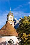 Church of St Peter and Paul with Karwendel Mountains, Mittenwald, Bavaria, Germany