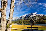 Cross on Maple Tree Trunk by Bench at Lake Lautersee with Karwendel Mountains in Autumn, Oberbayern, Bavaria, Germany Stock Photo - Premium Rights-Managed, Artist: F. Lukasseck, Code: 700-07143728