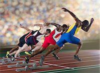 sprint - Four athletes starting a sprint race Stock Photo - Premium Royalty-Freenull, Code: 614-07145720