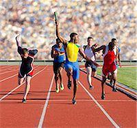 finish line - Six athletes running relay race Stock Photo - Premium Royalty-Freenull, Code: 614-07145743