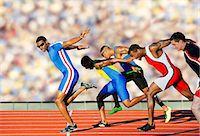 finish line - Five athletes running relay race Stock Photo - Premium Royalty-Freenull, Code: 614-07145745