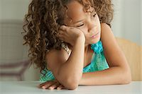 sad girls - Girl leaning on elbow looking away Stock Photo - Premium Royalty-Freenull, Code: 614-07146320