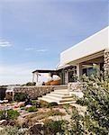Landscaping around modern house