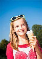 Girl with Ice Cream Cone, Lampertheim, Hesse, Germany Stock Photo - Premium Royalty-Freenull, Code: 600-07148088