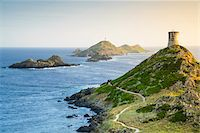 Scenic view of the Sanguinaires Islands, Genoese Watchtower and Pointe de La Parata (Parata Point), Gulf of Ajaccio, Corsica, France Stock Photo - Premium Rights-Managednull, Code: 700-07148260