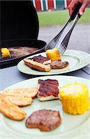 Food at barbecue Stock Photo - Premium Royalty-Freenull, Code: 6102-07158286