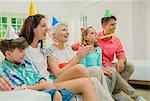 Family celebrating birthday together