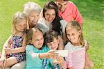 Family taking picture together with cell phone Stock Photo - Premium Royalty-Free, Artist: Aflo Relax, Code: 6113-07159741