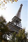 Low angle view of Eiffel Tower against blue sky, Paris, France