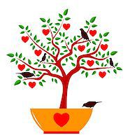 vector heart tree in pot and birds isolated on white background, Adobe Illustrator 8 format Stock Photo - Royalty-Freenull, Code: 400-07175759