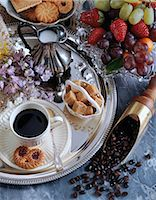Black coffee and fruit Stock Photo - Premium Rights-Managednull, Code: 824-07193492