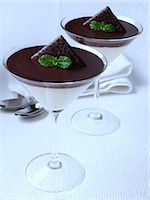 Two glasses of chocolate mint mousse dessert Stock Photo - Premium Rights-Managednull, Code: 824-07193689
