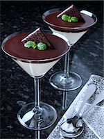 Two glasses of chocolate mint mousse Stock Photo - Premium Rights-Managednull, Code: 824-07193690