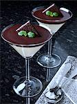 Two glasses of chocolate mint mousse Stock Photo - Premium Rights-Managed, Artist: foodanddrinkphotos, Code: 824-07193690