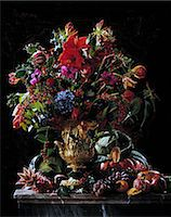 flower graphic - Exotic flowers and fruit centre piece Stock Photo - Premium Rights-Managednull, Code: 824-07193709