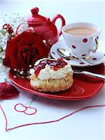 flower graphic - Scones with jam and clotted cream with tea set Stock Photo - Premium Rights-Managed, Artist: foodanddrinkphotos, Code: 824-07193866