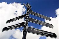 Bilingual road sign English and Scottish Gaelic directions, Stornoway, Outer Hebrides, UK Stock Photo - Premium Rights-Managednull, Code: 841-07202037