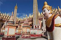 Thanboddhay Paya (pagoda) decorated with mini Buddha images and gilt mini-stupas, near Monywa, Monywa Region, Myanmar (Burma), Asia Stock Photo - Premium Rights-Managednull, Code: 841-07202571