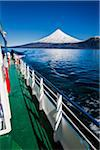 Close-up of tour boat on Cruce Andino, looking toward Osorno Volcano, Lake Todos los Santos, Parque Nacional Vicente Perez Rosales, Patagonia, Chile Stock Photo - Premium Rights-Managed, Artist: R. Ian Lloyd, Code: 700-07202719