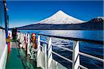 Close-up of tour boat on Cruce Andino, looking toward Osorno Volcano, Lake Todos los Santos, Parque Nacional Vicente Perez Rosales, Patagonia, Chile Stock Photo - Premium Rights-Managed, Artist: R. Ian Lloyd, Code: 700-07202720