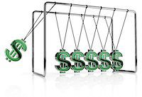 Dollar symbols hanging from a Newton's Cradle Stock Photo - Premium Royalty-Freenull, Code: 6106-07202921