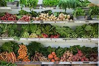supermarket not people - A farm stand with rows of freshly picked vegetables for sale. Stock Photo - Premium Royalty-Freenull, Code: 6118-07202986