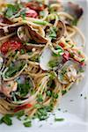 Spaghetti with Clams, Tomatoes and Basil, Santa Maria di Castellabate, Salerno, Campania, Italy Stock Photo - Premium Rights-Managed, Artist: Siephoto, Code: 700-07204004