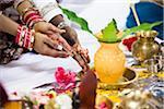 Close-up of Bride and Groom's Hands at Hindu Wedding Ceremony, Toronto, Ontario, Canada